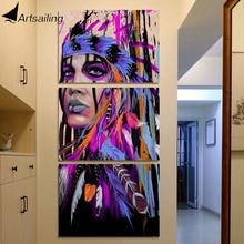 HD с 3 шт. холсте американских индейцев художественная роспись Пернатый стены Книги по искусству для гостиной Бесплатная доставка/NY-6833D