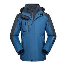 Men's Hiking Jacket Winter 2 IN 1 Fleece Waterproof Jackets Sport Warm Coat Outdoor Camping Trekking Skiing Clothing Size 6XL