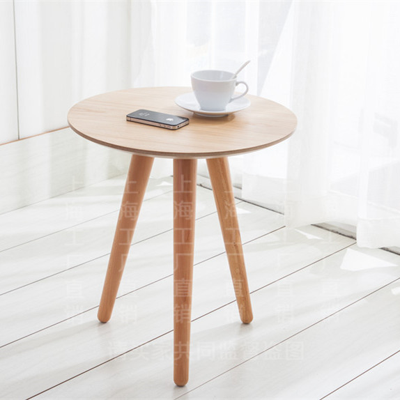 Modern Minimalist Fashion Japanese Wood Side Tables And Coffee Table In  Front Of Small Round Coffee