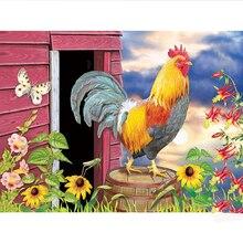 100% Full Square Drill 5D DIY deimanto tapyba Gyvūnų Gaidys Mezgimas Kryžminis stilius Mozaika Namų dekoro Dovanos