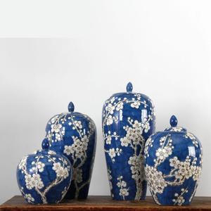 Jingdezhen Blue And White Porcelain Ginger Jar Decoration Vase Modern Home Furnishings Living Room Tv cabinet Ceramic jar vase(China)