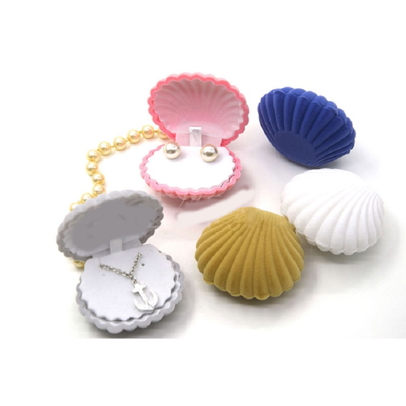Jewery Organizer Box Rings/Earrings Storage Small Gift Box DIY craft Display Case Wedding/etc Velvet Shell Shape for wh