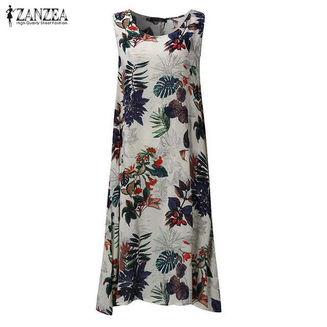 Vestidos 2018 Summer ZANZEA Women Vintage Random Floral Print Dresses Casual Loose Sleeveless Mid-calf Dresses Plus Size S-5XL