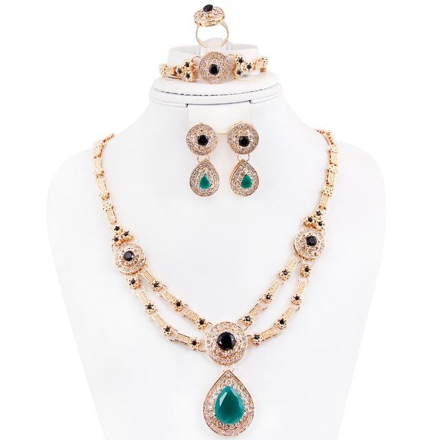 Venta caliente collar Pendiente pulsera Mujeres Oro Blue Zircon Wedding Bridal Crystal Rhinestone Conjuntos de Joyería de Fantasía