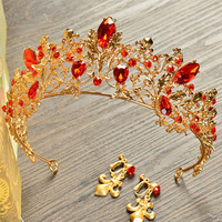 Baroque Crown Golden Tiaras And Crowns With Earrings Clips Bride Crown For Wedding Party Princess Bride