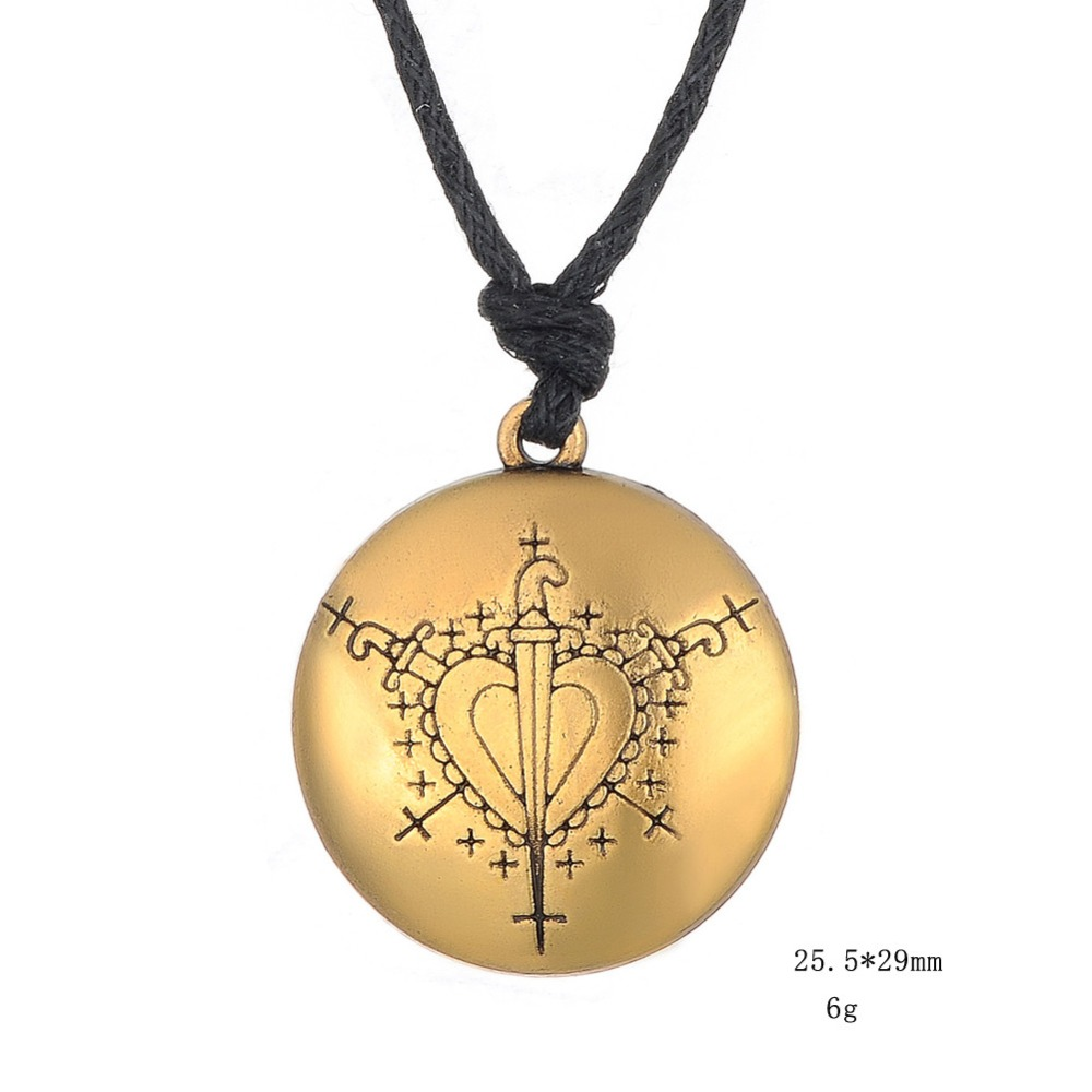 Ezili Dantor Voodoo Loa Veve Pendant Lwa Motherhood Jewelry Hoodoo Amulet Adjustable Rope Chain Hand Stamped Necklaces Jewelry