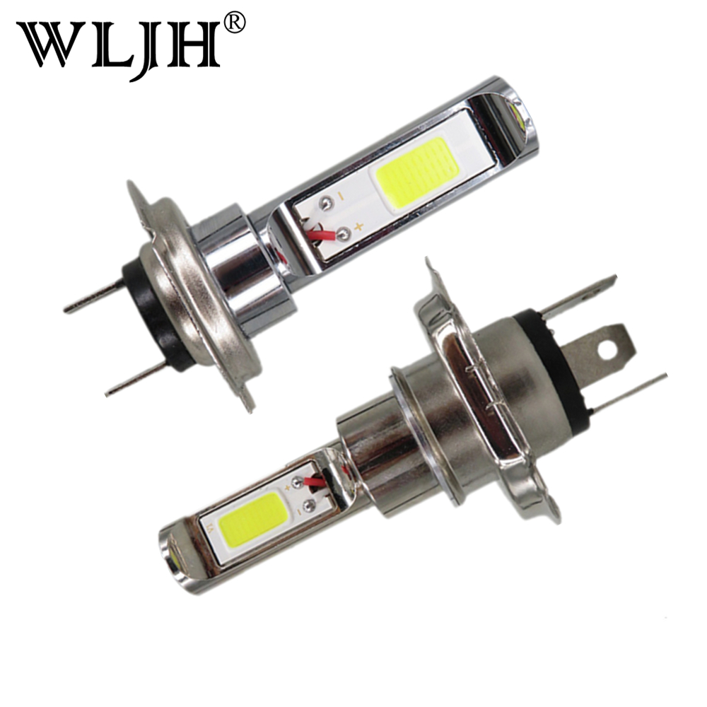 WLJH 2x Car Styling H7 H8 H4 9005 9006 COB Led Chip Car Auto Motorcycle DRL Driving Car H7 Fog Lamp Light Bulb 12V 24V 30V 30W new super bright h7 5630 smd 33 led 12v white auto car fog driving light lamp bulb car accessories