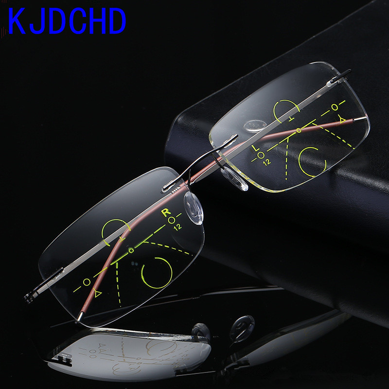 2019 Titanium Titanium Men Women Progressive Reading Glasses With Glasses Case Metal Rimless Bifocal Multifocal Lens Glasses