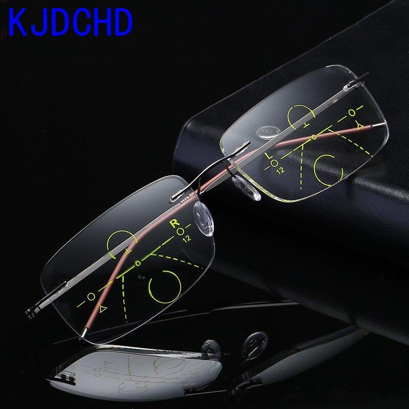 ffe4aaa141 2019 titanio hombres mujeres gafas de lectura progresiva con gafas de Metal  sin montura Bifocal lentes multifocales