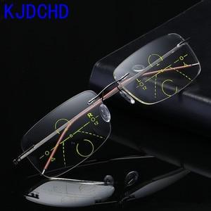 Image 1 - Óculos de leitura multifocal unissex, óculos de titânio para leitura, com lente multifocal, sem aro, para homens e mulheres, 2019