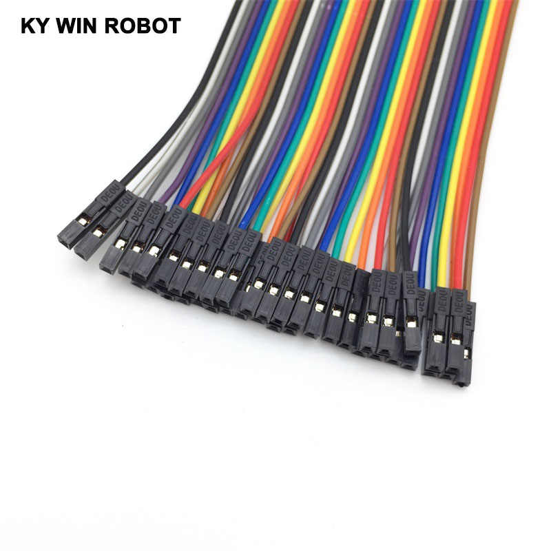 Dupont line 40pcs 10cm 2.54mm 1p-1p Pin Female to Female Color Breadboard Cable Jump Wire Jumper For Arduino