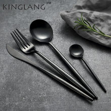 Western Cultery Metal Black Voedsel Mes Koffielepel Restaurant Servies Dining Lepel Voor Europese Dessert(China)