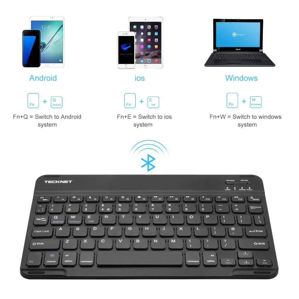 d73af908982 ... TeckNet Bluetooth Ultra-Slim Wireless Keyboard Built-in Li-polymer  Rechargeable Battery for ...