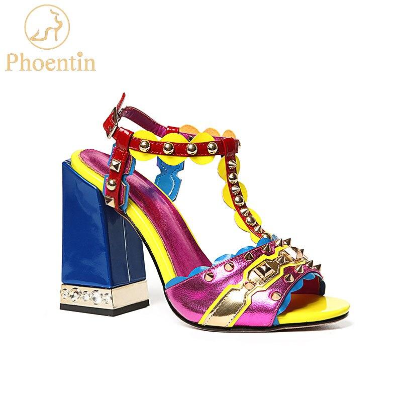 Phoentin paars t strap vrouwen sandalen echt leer 2018 nieuwe mode klinknagel gemengde kleuren zomer vrouwen schoenen hoge hakken FT457-in Hoge Hakken van Schoenen op  Groep 1