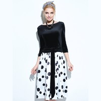 Sisjuly Women Summer Black Dress Girls Summer Polka Dot Dress A Line 3 4 Sleeve Female