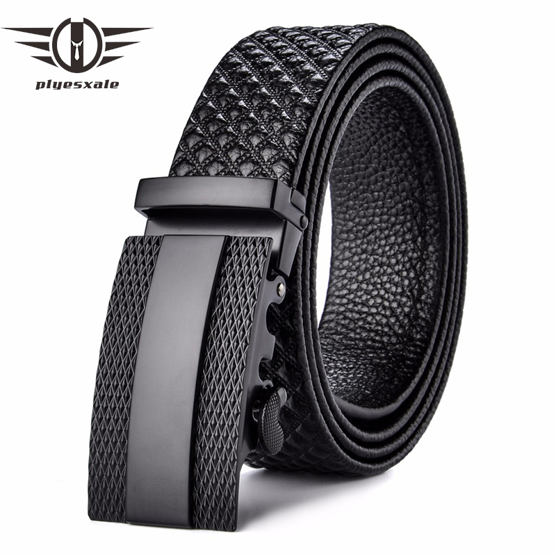 Plyesxale Designer   Belts   Men High Quality Luxury Genuine Leather   Belt   Strap Retro Vintage Automatic Buckle Plaid Waist   Belt   B63
