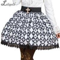 甘い森ガール黒と白ダイヤモンド市松短いスカートのための夏