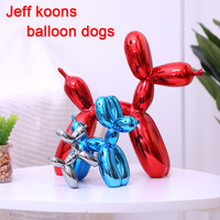 Jeff Koons Shiny Balloons Dog Statue Simulation Dogs Animal Art Sculpture Resin Craftwork Home Decoration Accessories