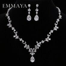 طقم مجوهرات رائع من أحجار الزركونيوم AAA من العلامة التجارية emمايا طقم مجوهرات من الزهور الكريستالية البيضاء لحفلات الزفاف طقم مجوهرات للنساء