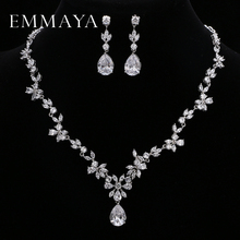 EMMAYA Brand Gorgeous AAA CZ Stones Jewelry Set White Crystal Flower Party Wedding Sets For Women