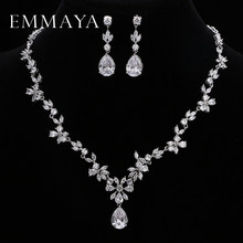 EMMAYA Brand Gorgeous AAA CZ Stones Jewelry Set White Crystal Flower Party Wedding Jewelry Sets For Women(China)