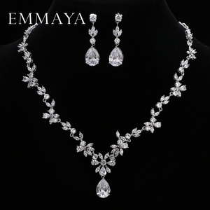 Image 1 - EMMAYA Brand Gorgeous AAA CZ Stones Jewelry Set White Crystal Flower Party Wedding Jewelry Sets For Women