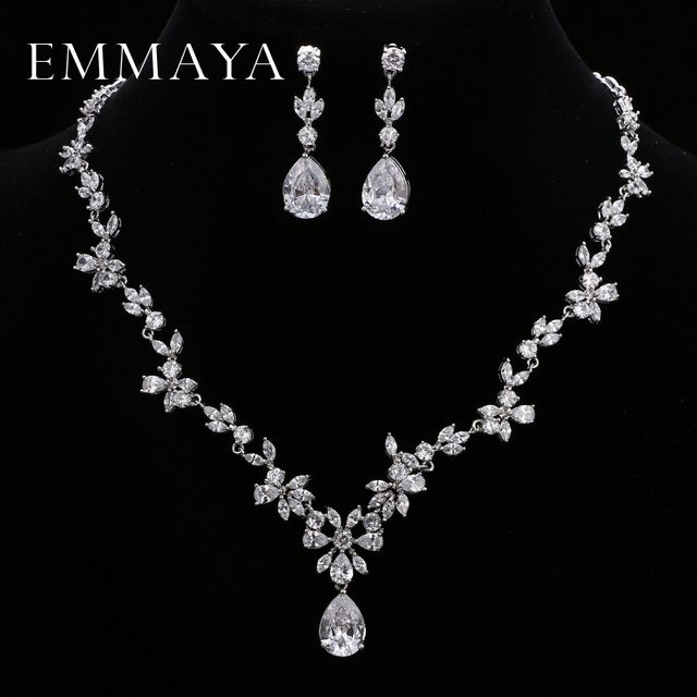 EMMAYA Brand Gorgeous AAA CZ Stones Jewelry Set White Crystal Flower Party Wedding Jewelry Sets For Women