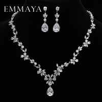 EMMAYA Brand Gorgeous AAA CZ Stones Jewelry Set White Crystal Flower Party Wedding Jewelry Sets For Women