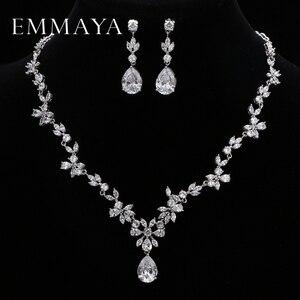 Image 1 - EMMAYA ensemble de bijoux avec pierres CZ AAA, magnifique ensemble de bijoux pour femmes, fleurs en cristal blanc, fête, mariage, fête