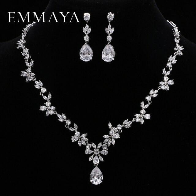 EMMAYA ensemble de bijoux avec pierres CZ AAA, magnifique ensemble de bijoux pour femmes, fleurs en cristal blanc, fête, mariage, fête