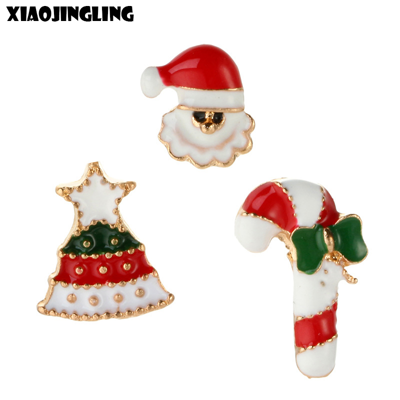 XIAOJINGLING Christmas Gifts 3Pcs Set Snowman Xmas Tree Candy Bar Collar Pin Brooch Corsage Scarf Sweater For Women Jewelry Gift