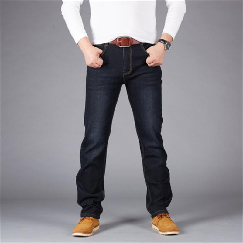 Plus Size 44 46 48 50 Man   Jeans   High Stretch Straight Long Slim Trousers Fashion Casual Black Blue Denim Male Business Jeanswear