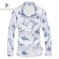 2018 Spring Autumn Features Shirts Men Casual Floral Shirt New Arrival Long Sleeve Casual Slim Fit