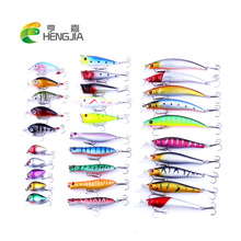 HENGJIA 30pcs fishing lures set synthetic wobbler minnow crankbaits high water popper lures package pesca fishing tackles