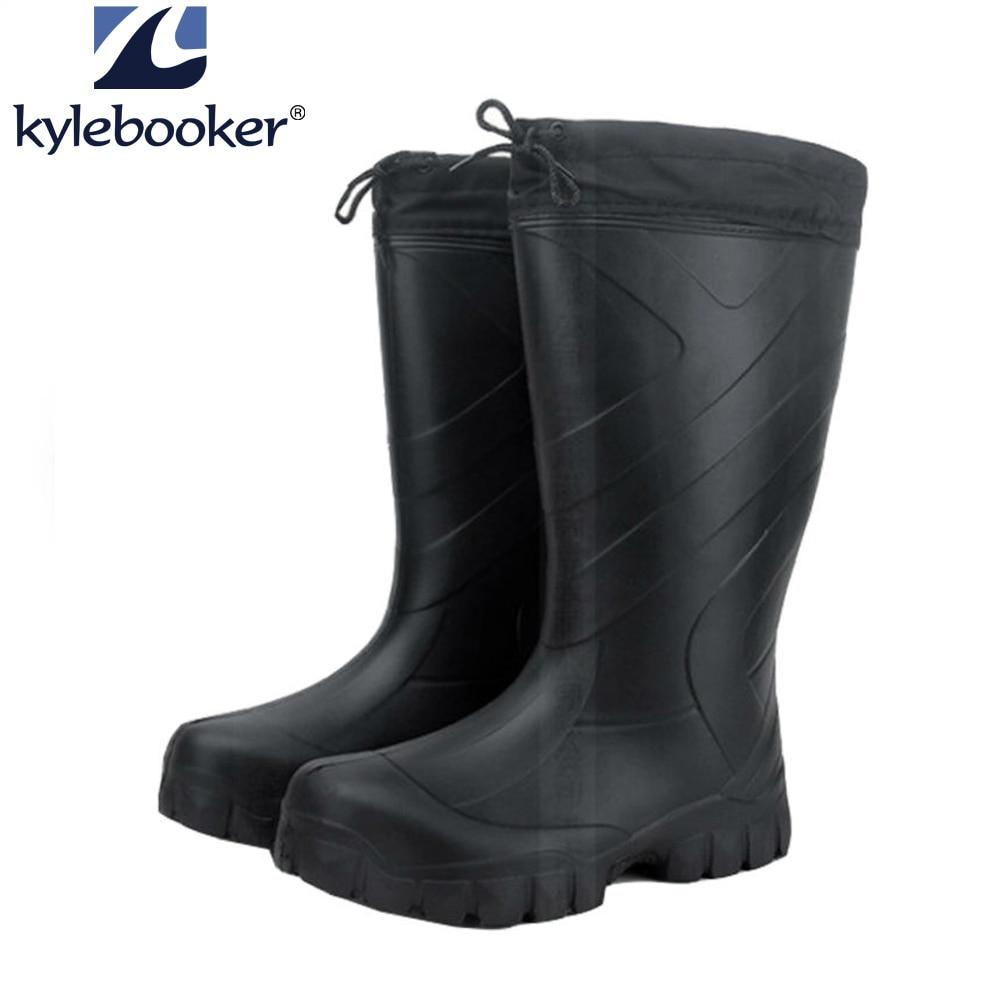 Vyriški žieminiai žūklės batai Žvejybos boteriai Neperšlampami batai Aukšto vandens batai EVA lauko plokščiai ant slydimo gumos lietaus batai