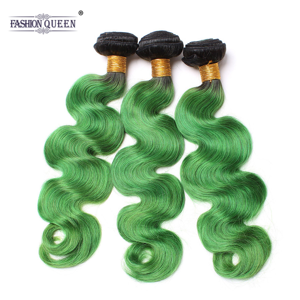 Модные queen hair 1B зеленый Бразильский объемная волна натуральные волосы ткань предварительно Цветной Ombre натуральные волосы Связки (bundle)