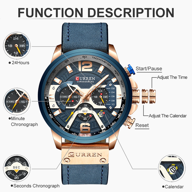 Luxury Brand Analog Leather Band Men's Sports Quartz Watch