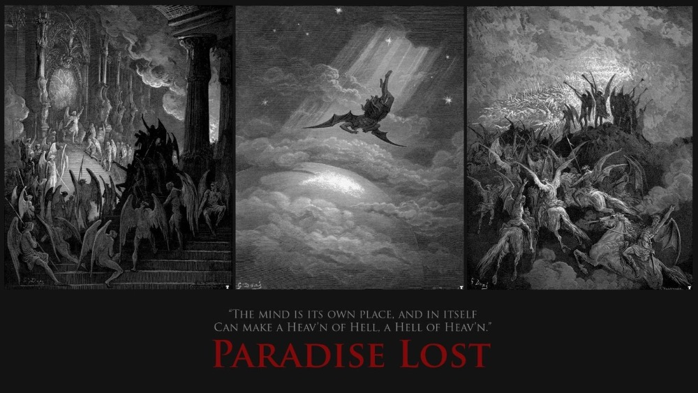 Paradise Lost (1667) Poem by John Milton Artistic SILK POSTER Decorative painting 24x36inch image