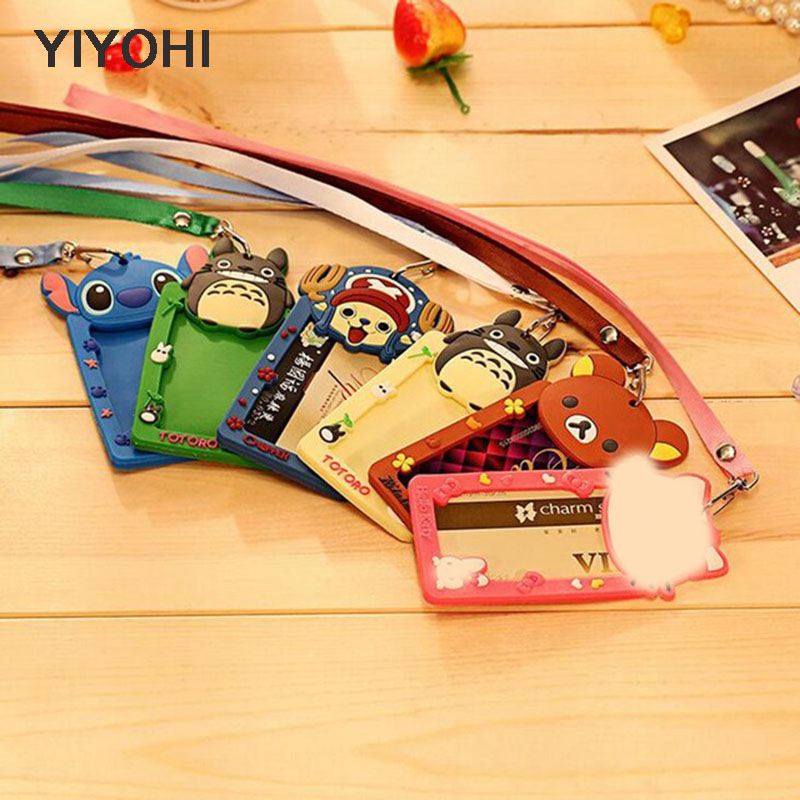 YIYOHI Cartoon Totoro Hello Cat Bank Credit Card Holders Unisex Silicone Neck Strap Card Bus ID Holders Identity Badge Lanyard