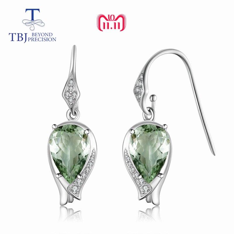 TBJ, nouveau style floraison fleur Crochet boucle d'oreille naturel bon lustre vert améthyste pierres précieuses dans 925 sterling argent meilleur cadeau pour dame