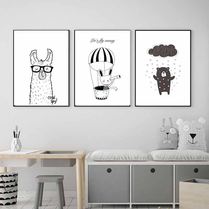 Llama Cool Boy Cartoon Print Canvas