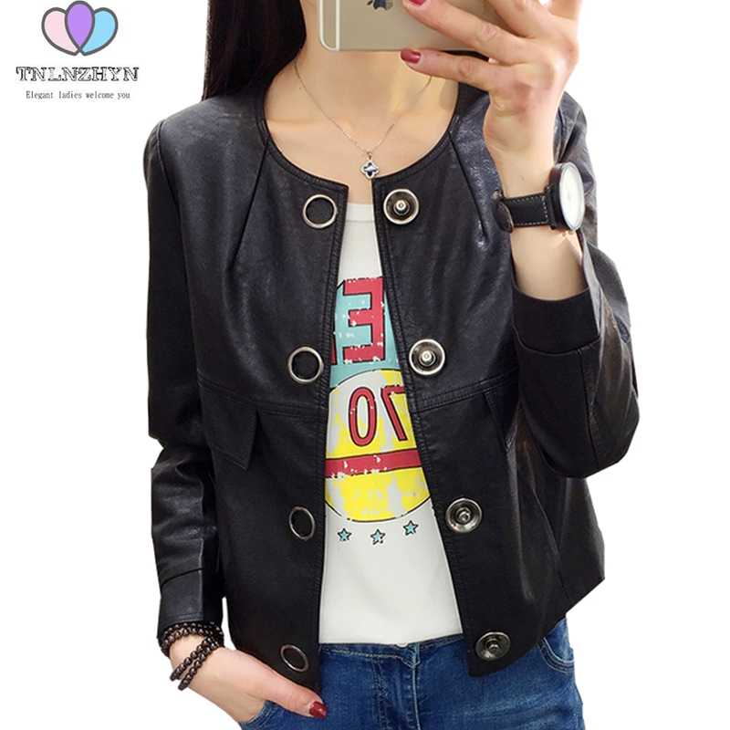 2019 Spring and Autumn New Fashion Women faux PU Leather Coat long sleeves Short Leather Jacket Casual Outwear Coat TNLNZHYN E50