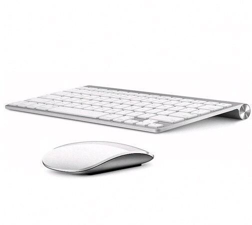 Russe anglais 2.4G Ultra-mince chocolat clé sans fil clavier souris Combos pour Apple Style Mac Pc fenêtre XP/7/8/10 Smart TvBox