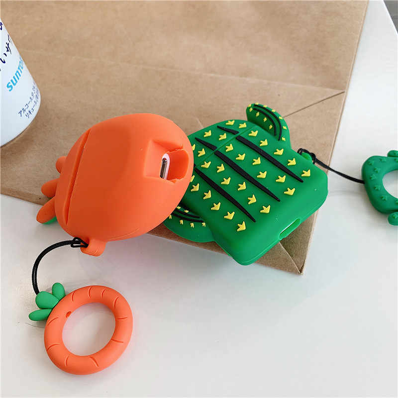 3D แคคตัสน่ารักแครอทซิลิโคนสำหรับ Apple Airpods บลูทูธหูฟังสำหรับ Airpods 1 2 สำหรับ air pods
