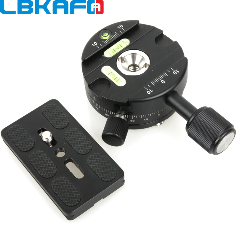 LBKAFA X64 360 Degree Panoramaic Ball Head Panorama Clamp Quick Release With QR Plate For Camera Tripod For Nikon Canon Sony c1657 360 degree rotatable quick release plate panorama head black