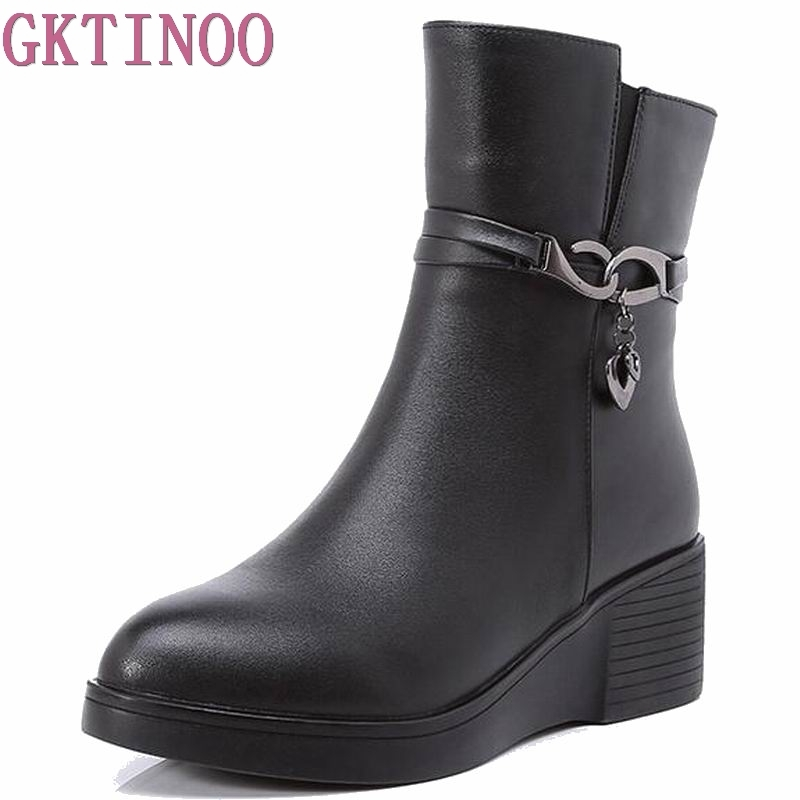 2017 New Wedges Women Boots Fashion Genuine Leather High-heeled Platform Ankle Boots Zip High Heels Winter Warm Shoes With fur eiswelt women zip ankle boots heels women soft leather platform shoes female wedges shoes zqs185
