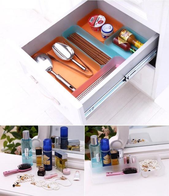Plastic DIY Drawer Divider Stationery Candy Kitchen Tools Makeup Organizer  Storage Boxes Tidy Plate Drawer Organizer