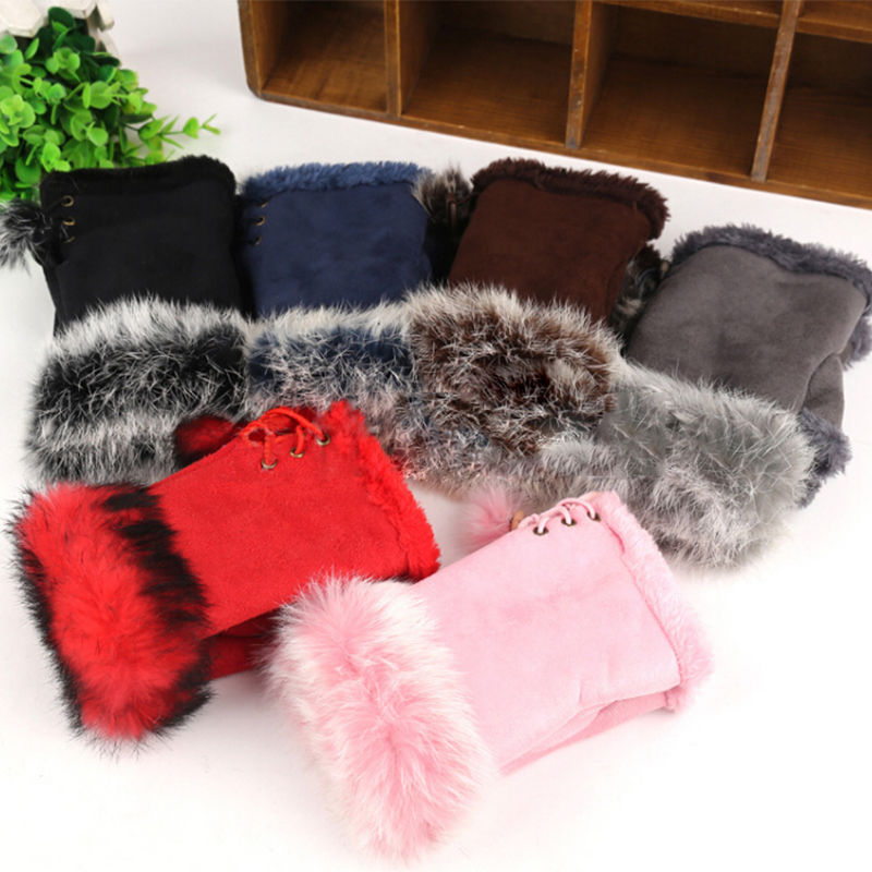 Novelty New Warm Winter Necessity Women's Rabbit Fur Leather Wrist Fingerless Gloves Gift Clothing Accessories