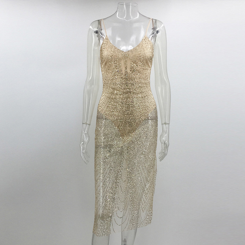 Sexy Sheer Glitter Silver Gold Sequin Party Dresses Women V Neck Side Split  Spaghetti Strap See Through Mesh Bodycon Dress Club-in Dresses from Women s  ... 843379f83a8d