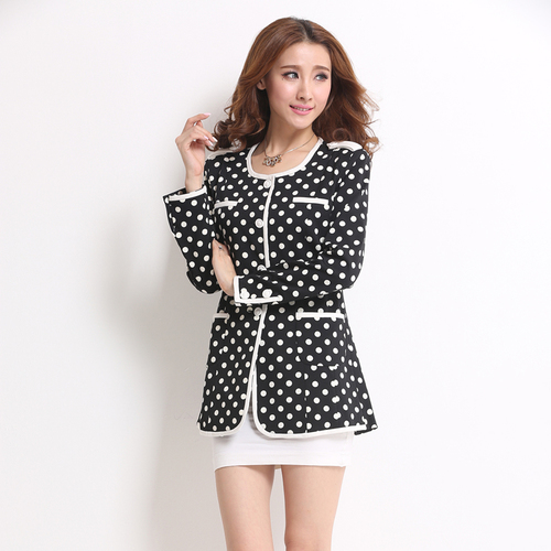 J48814 Women Blazers Full Sleeve Polka Dot Hidden Breasted O Neck Casual Blazer Jacket Office Lady
